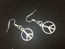 Make Peace Sign Silver Earring Set Jewelry Making Supplies Pins Hooks DIY Kit