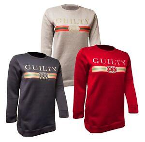 Ladies Plus Guilty Slogan Stripe Sweatshirt Oversized Jumper Top Dress Sweater