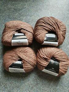 4 x 50g balls Bessie May Nettle Aran Shade 6310 Brown