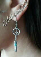 Silver Peace sign Feather turquoise earrings- feather spiritual dangle drop