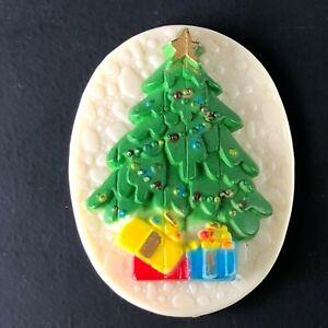 Vintage 1980s Plastic Christmas Tree Brooch Pin Holiday Ornament HONG KONG Paint