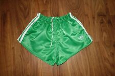 VINTAGE ADIDAS SHORT SHINY GLANZ, GREEN, MADE IN WEST GERMANY, SIZE D6 M
