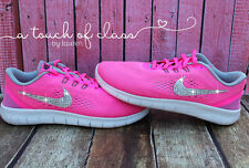 Girls / Womens Nike Free RN Size 5/6.5 Customized with Swarovski Crystals  SALE
