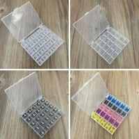 25 Spools Empty Bobbins Case Organiser Sewing Machine Bobbin Clear Box Storage