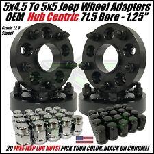5X4.5 TO 5X5 WHEEL ADAPTERS HUB CENTRIC 1.25 INCH ADAPT JK WHEEL ON TJ YJ + LUGS