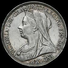 1897 Queen Victoria Veiled Head Silver LXI Crown, GVF / AEF