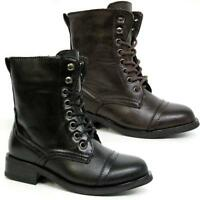 GIRLS SCHOOL BOOTS NEW BIKER PARTY RIDING ARMY MILITARY FASHION BLACK SHOES SIZE