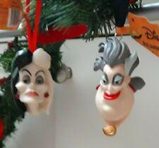 NEW 2 x DISNEY VILLAINS Hanging Christmas Tree Ornaments CRUELLA & URSULA Set