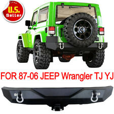 Textured Rock Crawler Rear Bumper D-rings for 1987-2006 Jeep Wrangler YJ TJ