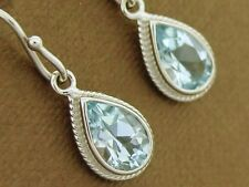 E089 Genuine 9ct 9K Solid White Gold NATURAL Topaz Drop Earrings Timeless
