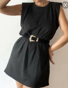 Zara Black Mini Dress With Shoulder Pads - Size XS