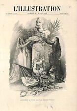 Buste de Victor Hugo au Théâtre-Français Comédie-Française Paris GRAVURE 1902