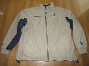 CHASE AUTHENTICS RUSTY WALLACE MILLER LITE TAN/BLUE RACING JACKET SZ: MEDIUM