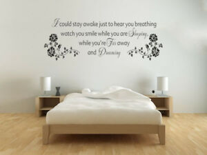Don't Want To Miss A Thing Lyrics Quote Wall Art, Modern Sticker, Bedroom Decor