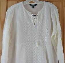 RALPH LAUREN NWT NEW CREAM EMBROIDERED PEASANT TOP $59 L 3/4 SLEEVES BOHO