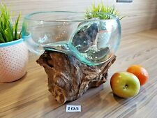 Melted Glass bowl vase On Wood Tree Root Bali Fair Trade Terrarium unique
