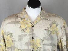 Tommy Bahama Mens XL Beige Silk Hawaiian Aloha Shirt Yellow Hibiscus Green Leaf