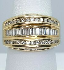 Extra Wide 14K Yellow Gold Baguette / Round Brilliant Diamond Cocktail Ring