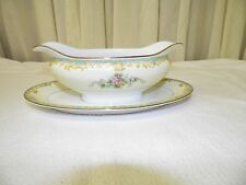 NORITAKE CHINA ADELA GRAVY BOAT WITH ATTACHED UNDER PLATE BOWL