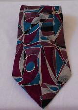 100% Silk Classic Neck Tie BIELLA PREMIER ABSTRACT PATTERN TEAL & WINE GRAY