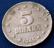 5 Dinara 1945. Yugoslavia original zinc coin, JУГОСЛАВИJА, partisan coin !