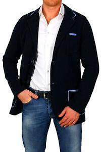 Herren Jacke Sakko Zweiknopf, Jackett Anzug Blazer Zweireiher blau Frühling S M