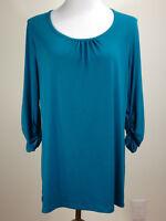 SUSAN GRAVER 3/4sl 'Liquid Knit Ruched Sleeve Tunic' (Stretchy) - M, Teal