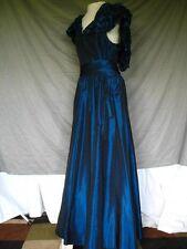 Victorian Edwardian Southern Deep Blue Formal Evening Cocktail Party Dress Sz 14