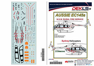 1/72 Decals-EC145 NSW Rural Fire and VH-JWO of Sydney Helicopters - DEKL's II