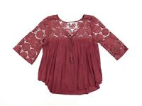 American Eagle Outfitters Women's Top Blouse 3/4 Sleeves Boho Sheer Sz S/P