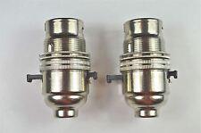 2 SWITCH NICKEL BAYONET FITTING LAMP BULB HOLDER LAMP HOLDER SHADE RING 10MM L10
