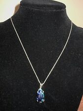"Vintage Womens 925 Silver Chain Earth Oval Pendant Natural Turquoise 18"" 5 Grams"