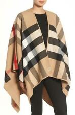 NEW BURBERRY CAMEL CHECK  REVERSIBLE SOLID CAPE PONCHO JACKET ONE SIZE