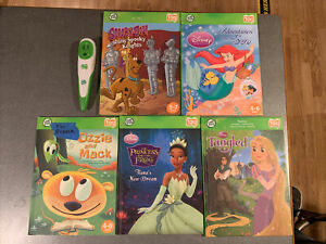 Leapfrog Tag Books Lot Of 5 Book + Pen. Tangled, Scooby-Doo, Disney