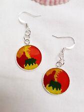 Multicoloured abstract acrylic paint  resin earrings