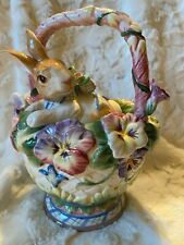 Fitz & Floyd Halcyon Teapot - New in Box Rabbit & Pansy Spring Flowers