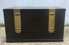 Vintage MCM Henredon Campaign 2 Drawer Storage Chest Nightstand Table