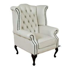 Chesterfield Armchair Queen Anne High Back Fireside Wing Chair White Leather