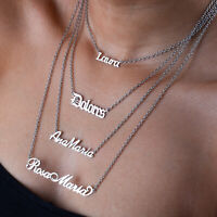 Personalised Necklace Silver Nameplate Gift Custom Font Stainless Steel Pendant