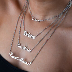 Personalised Necklace Silver or Stainless Steel Nameplate Gift  Font Pendant