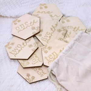 Baby Milestone Cards 13 Reversible Wooden Discs 26 sayings Birth Announcement