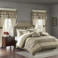 Madison Park Essentials Jelena Queen Size Bed Comforter Set Room in A Bag - Tan,