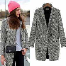 Damen Revers Jacke Wollmantel Parka Winterjacke Lange Trench Warm Mentel Outwear