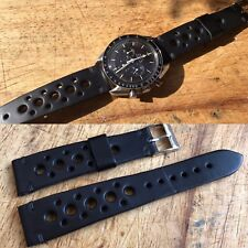 20 mm black Racing Leather Strap Leder bracelet cinturino speedmaster autavia