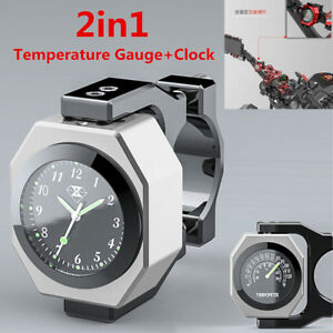 Aluminum Alloy Motorcycle Handlebar Mount Luminous Clock Time +Temperature Gauge