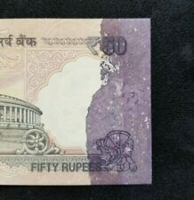 India - Error- 50 Rupees - Printing ink spill on reverse - Gem Unc