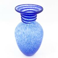 Vintage Italian Venetian Cobalt Blue Confetti Matte Art Glass Applied Swirl Vase