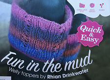 KNITTING PATTERN Ladies Cable Patterned Welly Toppers Wellington Boot Socks Rico
