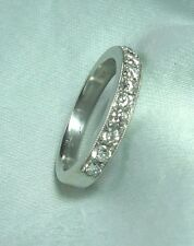18K White Gold Ring / Wedding Band w 11 Diamonds 3.3 grams  size 4 3/4