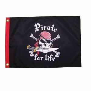 Flappin Flags - 12in by 18in Pirate for Life! Pirate Flag, Perfect for Play